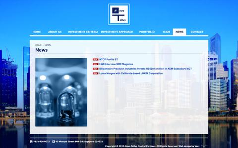 Screenshot of Press Page novotellus.com - News:: Novo Tellus Capital Partners – Private Equity Firm - captured Oct. 7, 2014