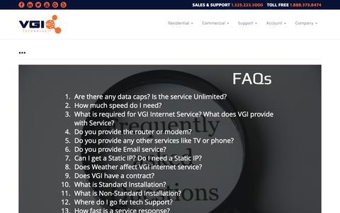 Screenshot of FAQ Page vgitechnology.com - ... :: VGI Technology - San Angelo's Security Experts - captured Oct. 19, 2018