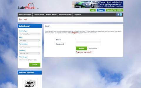Screenshot of Login Page latewheels.com - Login | LateWheels.com - captured Oct. 2, 2014