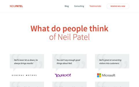 Screenshot of Testimonials Page neilpatel.com - What do people think of Neil Patel? - captured Oct. 29, 2014