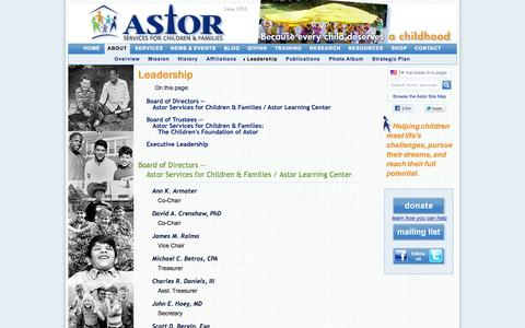 Screenshot of Team Page astorservices.org - Board of Directors & Executive Leadership | Astor Services for Children & Families - captured Oct. 4, 2014