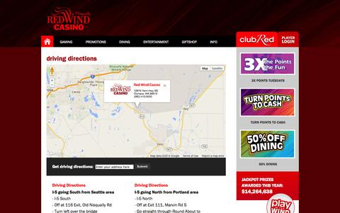 Screenshot of Maps & Directions Page redwindcasino.com - Red Wind Casino | Olympia, WA  | DIRECTIONS - captured Oct. 26, 2014