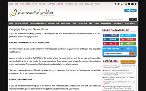 Screenshot of Terms Page pharmaguideline.com - Copyright Policy and Terms of Use :  Pharmaceutical Guidelines - captured Sept. 28, 2018