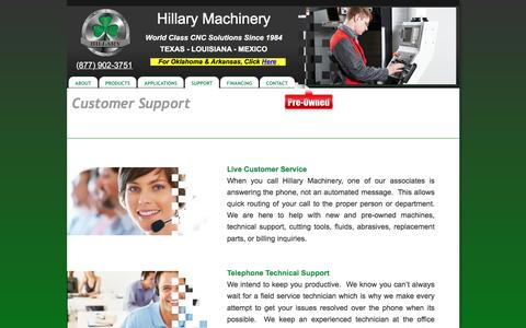 Screenshot of Support Page hillaryinc.com - Hillary Machinery Customer Service - captured Jan. 30, 2016