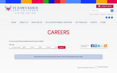 Screenshot of Jobs Page stjudesranch.org - Careers - St. Jude's Ranch - captured Jan. 12, 2016