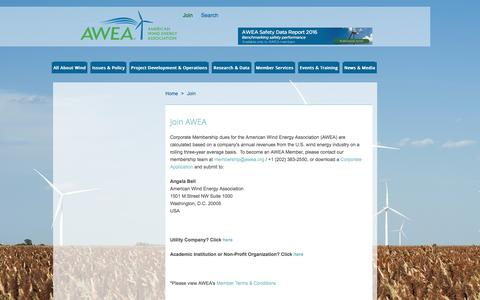 Screenshot of Signup Page awea.org - Join AWEA - captured Sept. 18, 2016