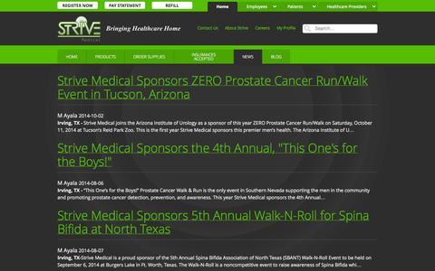 Screenshot of Press Page strivemedical.com - News :: Strive Medical Wound Care & Urologicals - captured Oct. 7, 2014