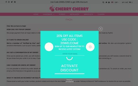 Screenshot of FAQ Page cherrycherry.com - FAQ's – Cherry Cherry - captured Nov. 4, 2018