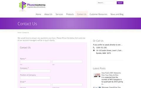 Screenshot of Contact Page phonenomena.com.au - Contact Us | Phonenomena | Telstra Enterprise Partner | Enterprise Mobility Management - captured Sept. 29, 2014