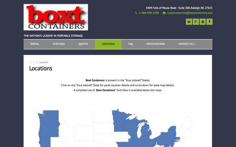 Screenshot of Locations Page boxtcontainers.com - Locations | BOXT Containers - captured Sept. 30, 2014