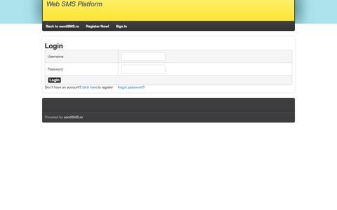 Screenshot of Login Page sendsms.ro - sendSMS.ro - Platforma de SMS Marketing - captured Nov. 12, 2017