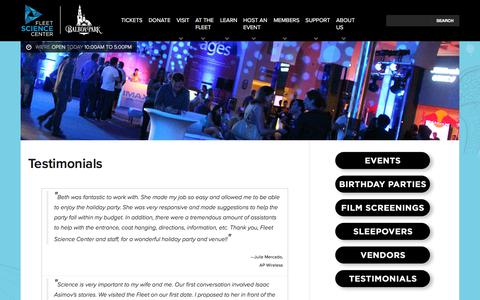 Screenshot of Testimonials Page rhfleet.org - Testimonials | Fleet Science Center - San Diego, CA - captured Sept. 25, 2018