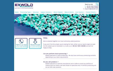 Screenshot of FAQ Page exwold.com - Frequently asked questions about chemical processing at Exwold | exwold.com - captured Nov. 14, 2016