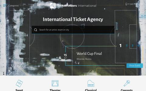 Screenshot of Home Page ticket-finders.com - Ticketfinders | Tickets for Concerts, Sports, Opera, Theater - captured June 30, 2018