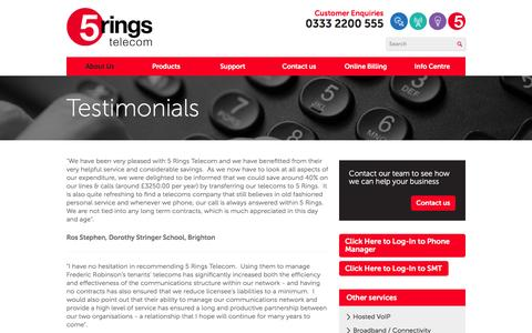 Screenshot of Testimonials Page 5ringstelecom.co.uk - Testimonials : Telecoms Services - captured Feb. 27, 2016