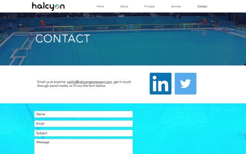 Screenshot of Contact Page halcyonsportevent.com - Contact - Halcyon International Sport Event Consultancy - captured July 5, 2017