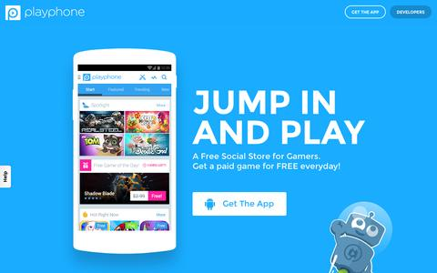 Screenshot of Home Page playphone.com - PlayPhone's Social Gaming Network - captured Oct. 7, 2015