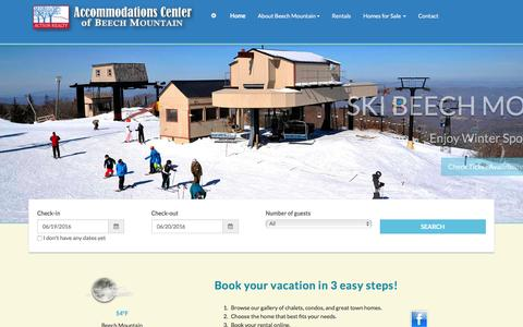 Screenshot of Home Page beechmountain.com - Vacation Rentals | Accommodations - captured June 20, 2016