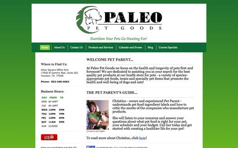 Screenshot of Products Page paleopetgoods.com - Home Page - Paleo Pet Goods, LLC, Natural and Organic Pet Foods for Dogs and Cats. - captured Oct. 1, 2014