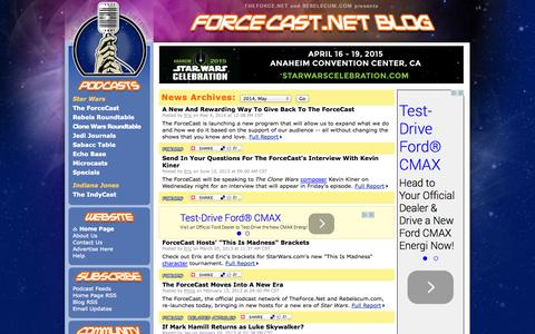 Screenshot of Blog forcecast.net - ForceCast.net: Blog - captured Oct. 31, 2014