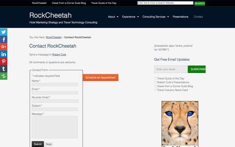 Screenshot of Contact Page rockcheetah.com - Contact Robert Cole at RockCheetah - captured Oct. 18, 2018