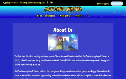 Screenshot of About Page californiajumping.com - About Us - Inflatables & Party Rentals - California Jumping of Fresno - captured July 11, 2017