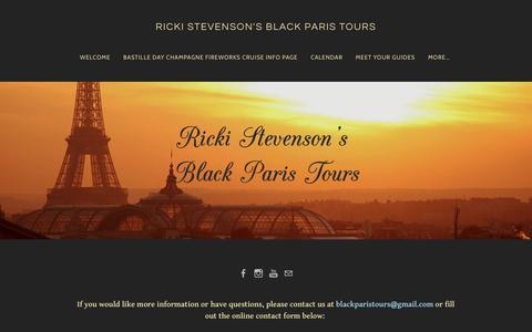 Screenshot of Contact Page blackparistour.com - Contact Page for Black Paris Tours with Guide Ricki Stevenson - Exploring the Best of Black Paris - RICKI STEVENSON'S BLACK PARIS TOURS - captured Nov. 21, 2018