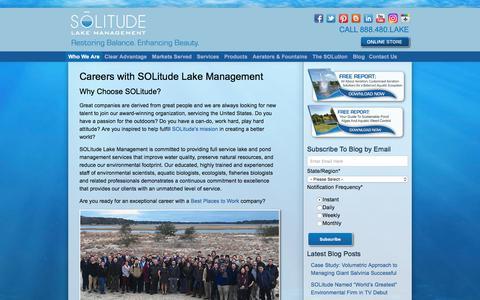 Screenshot of Jobs Page solitudelakemanagement.com - Careers with SOLitude Lake Management - captured July 26, 2018