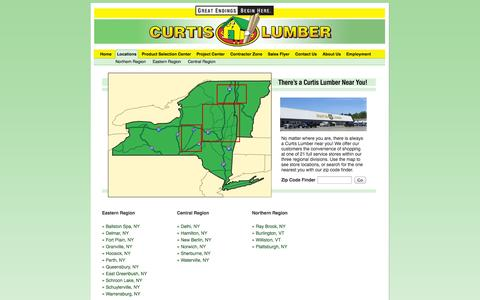 Screenshot of Locations Page curtislumber.com - Store Locations and Hours - Upstate New York and Vermont - captured Sept. 22, 2014