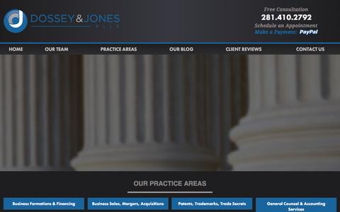Screenshot of Home Page dossey.com - Estate Planning, Probate, Business, Tax, & Patent Attorneys | The Woodlands TX Law Firm - captured Feb. 9, 2016