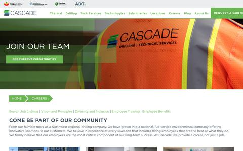 Screenshot of Jobs Page cascade-env.com - Cascade Careers | Be Part of Our Community - captured July 7, 2018