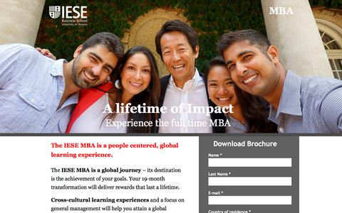 Screenshot of Landing Page iese.edu - Full Time MBA - IESE Business Scool - captured April 9, 2018