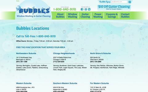 Screenshot of Locations Page bubbleswindowcleaning.com - Our Locations - Bubbles Window Cleaning - Chicago & Surrounding Suburbs - captured Nov. 23, 2016