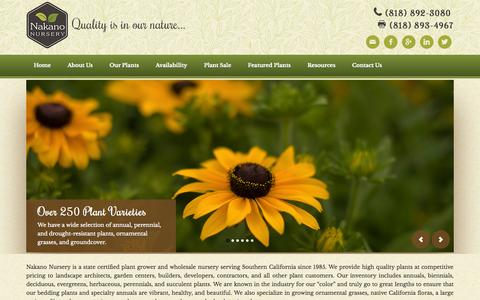 Screenshot of Home Page nakanonursery.com - Wholesale Plant Nursery | LA and Ventura Counties - captured Oct. 1, 2014