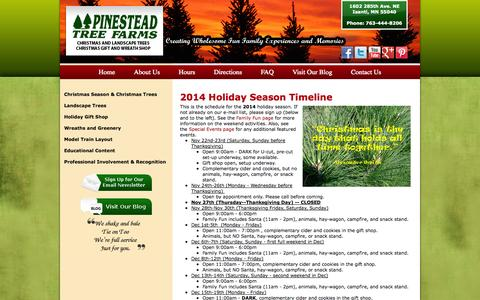 Screenshot of Hours Page pinesteadchristmastrees.com - Hours | Minnesota Christmas Trees and Gift Shop - captured Oct. 2, 2014