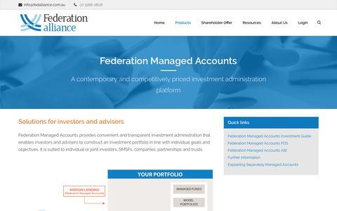 Screenshot of Products Page fedalliance.com.au - Federation Managed Accounts | Federation Alliance - captured Nov. 25, 2016