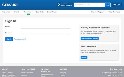 Screenshot of Login Page gemaire.com - Sign In - captured June 6, 2019