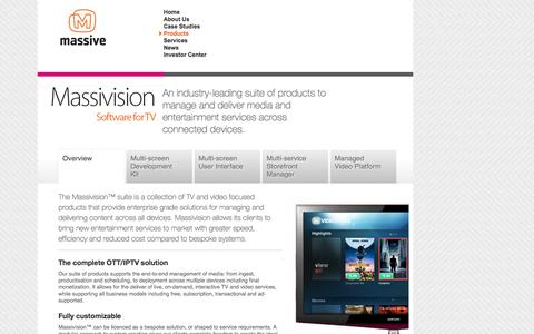 Screenshot of Products Page massiveinteractive.com - Massivision TV Software   Massive Interactive - captured Oct. 27, 2014