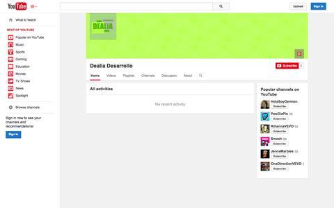 Screenshot of YouTube Page youtube.com - Dealia Desarrollo  - YouTube - captured Oct. 23, 2014