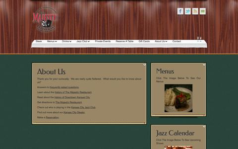 Screenshot of About Page majestickc.com - About Us «  The Majestic Restaurant and Jazz Club - captured Oct. 6, 2014