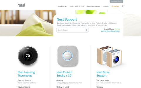 Screenshot of Support Page nest.com - Support | Nest Support - captured Sept. 17, 2014