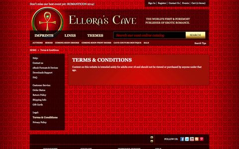 Screenshot of Terms Page ellorascave.com - Terms & Conditions - captured Sept. 23, 2014