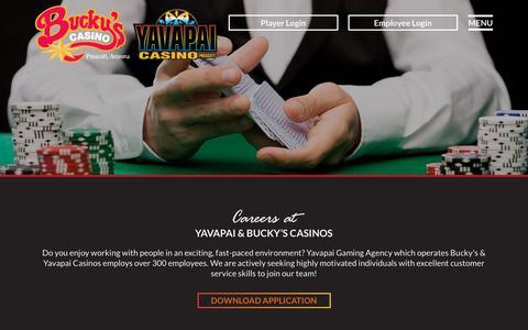 Screenshot of Jobs Page buckyscasino.com - Careers - Bucky's & Yavapai Casino - captured Oct. 7, 2018