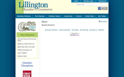 Screenshot of Press Page lillingtonchamber.org - News - Lillington Chamber of Commerce, NC - captured Nov. 8, 2016