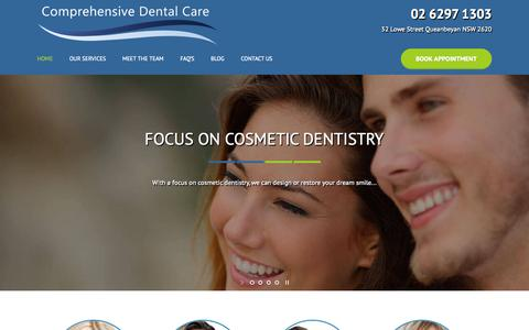 Screenshot of Home Page comprehensivedentistry.com.au - Your Local Dentist in Canberra & Queanbeyan | Call Today! - captured Sept. 19, 2015