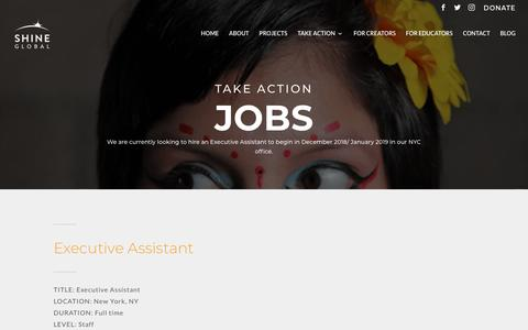 Screenshot of Jobs Page shineglobal.org - Jobs: Executive Assistant NYC   Shine Global - captured Oct. 26, 2018