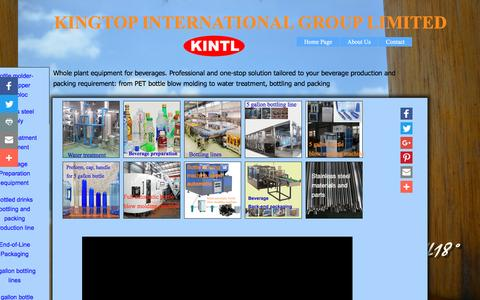 Screenshot of Home Page kintls.com - bottling line, bottle blowing machine, blow molding machine - captured Nov. 27, 2016