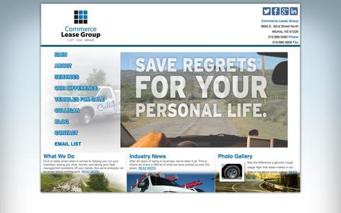 Screenshot of Home Page commerceleasegroup.com - Commerce Lease Group | Commercial Vehicle Fleet Leasing - captured Sept. 30, 2014