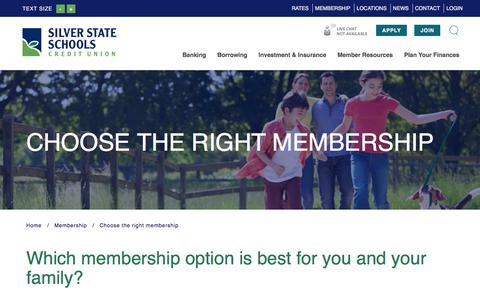 Screenshot of Signup Page silverstatecu.com - Silver State Schools Credit Union : Choose Membership | Silver State Schools Credit Union - captured April 1, 2018