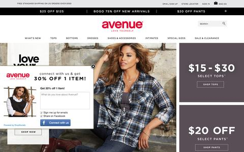 Screenshot of Home Page avenue.com - Plus Size Fashion | Women's Clothing in Plus Sizes - Avenue - captured Aug. 30, 2016